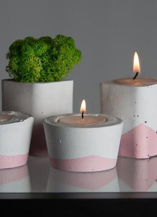 Набор бетонного декора в розовом цвете