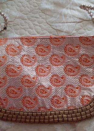 Косметичка клатч сумочка на пояс из парчи