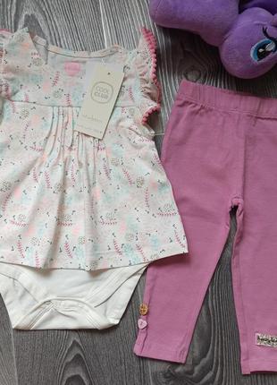 Новый костюм боди-платье и лосины 0-3 мес и 3-6 мес