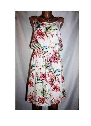 Платье сарафан лето прямое пояс цветы myhalys 44-48р