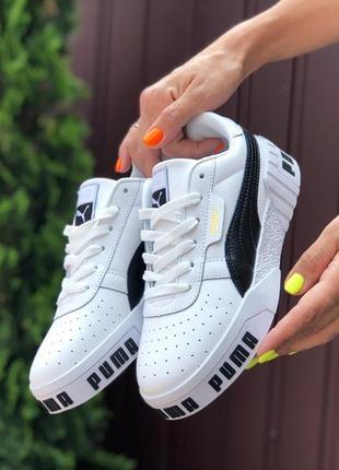 Крутые женские кроссовки puma cali bold белые с чёрным