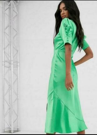 Роскошное атласное платье миди с объемным рукавом asos2 фото