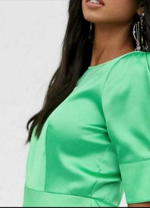 Роскошное атласное платье миди с объемным рукавом asos3 фото