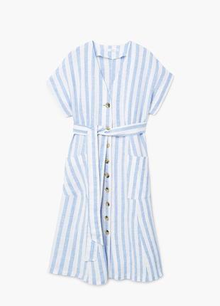 Льняное платье миди от mango размер хс-с