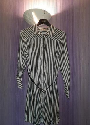 Платье-рубашка,платье в полоску,платье с поясом