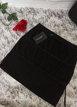 Юбка pretty little things черная с бахромой, юбка короткая  pretty little things black