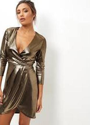 Стильное платье с напылением золото/эффект металлик, платье на запах xs\s