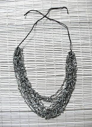 Ожерелье, колье, бусы из бисера, воздушка; черно-белое