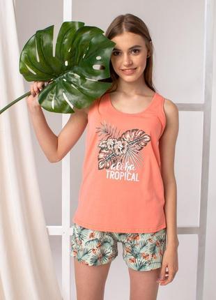 Стильный летний комплект для дома и сна пижама хлопок майка и шорты