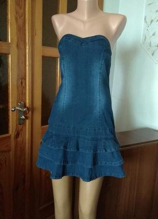 Синие джинсовое стрейчевое платье без брителей