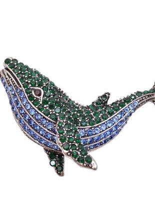 Брошь кулон большая кит рыба касатка ювелирная винтажная