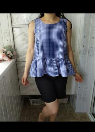 Italy блуза майка топ коттон  клетка рюши летняя лёгкая