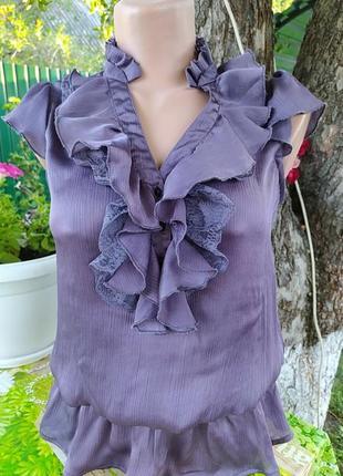Фиолетовая блуза с резинкой на поясе