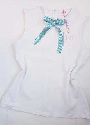Новый топ белая блуза с завязкой бант  savida xl