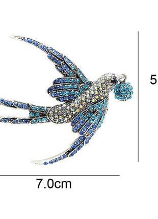 Брошь кулон большая ласточка птица ювелирная винтажная