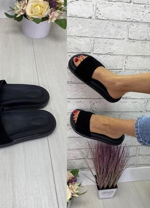 Удобные женские шлёпки тапочки черные натуральная замша