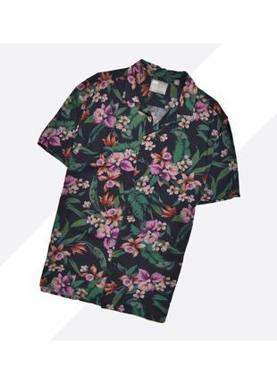 Asos l+ / лёгкая чёрная гавайская рубашка в цветочный принт