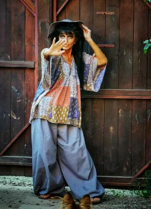Блуза из вискозы оверсайз с расклешенными рукавами в принт узор в этно бохо стиле monsoon