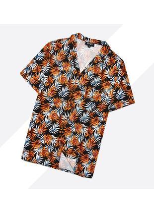 Boohoo man l / яркая гавайская рубашка летняя в насыщенный принт