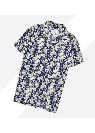 Boohoo s / лёгкая гавайская рубашка в сине-белый цветочный принт