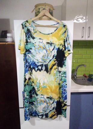 Натуральное яркое платье