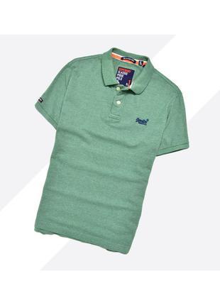 Superdry l-xl* / идеальная поло в зелёном цвете с синей вышивкой лого