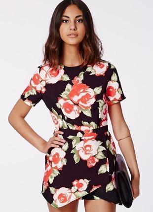 Новый комбинезон ромпер юбка - шорты missguided цветочный принт xs/s
