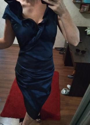 Шыкарное платье миди вечернее цвет💣с рюшами-м