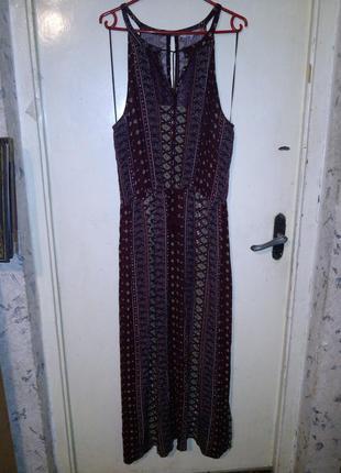 Натуральный,длинный-в пол,марсала,сарафан-платье на резинке,бохо,большого размера