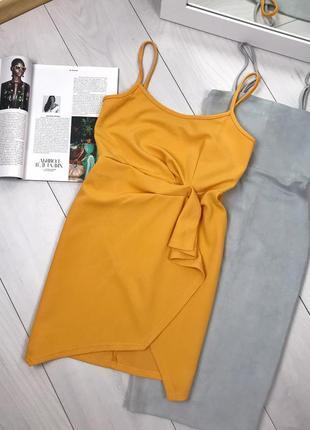 Желтое платье на запах