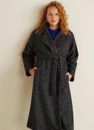 Пальто с поясом mango