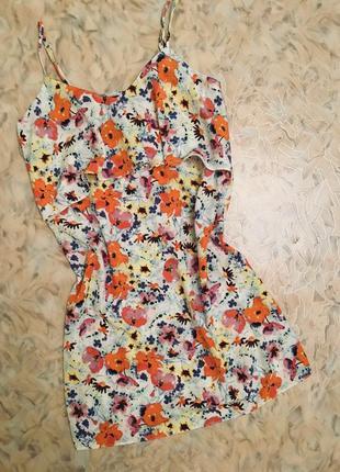 Короткое платье в цветочный принт р.xs