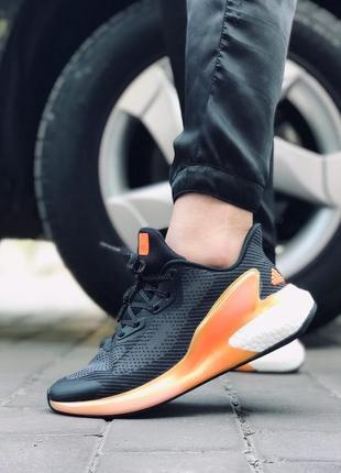 Крутые женские кроссовки adidas alphaboost чёрные с оранжевым