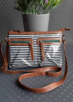 Красивая разноцветная летняя сумка на длинном ремешке фирмы tu