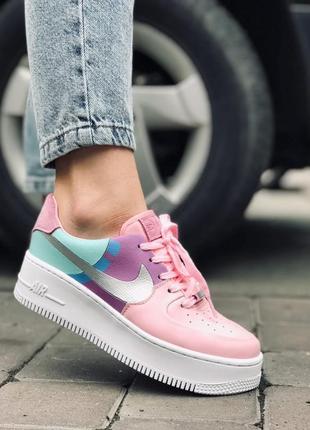 Шикарные женские кроссовки nike air force af1 пудровые розовые с бирюзовым