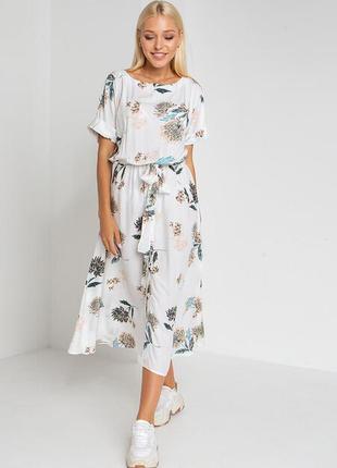 Штапельное платье миди под пояс в цветы (в 3-х расцветках)