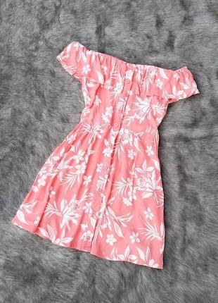Платье на плечи с оборкой new look