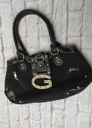 Стильная черная сумка базовая сумочка женская gussaci