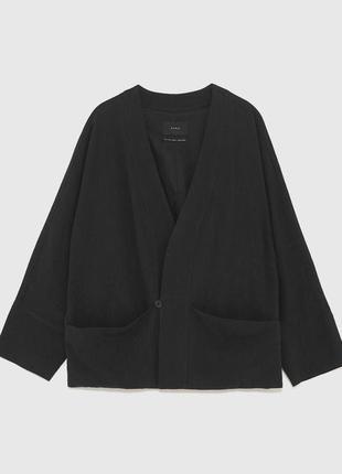 Льняное кимоно-жакет zara размер s но можно и на xl