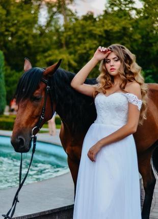 Шикарное белое свадебное платье юбка плиссе