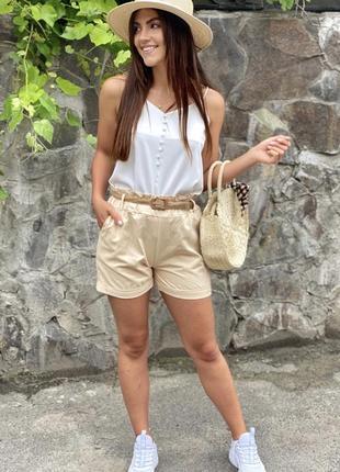 Женские летние шорты с плетеным поясом🤍