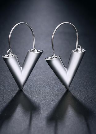 Серьги геометрия треугольники под серебро / большая распродажа!