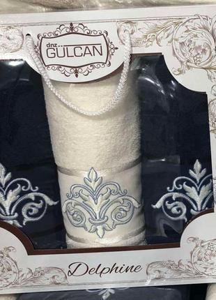 Набор турецких пушистых махровых полотенец 2 лицевых+1банное, набір рушників