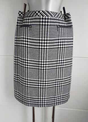 Стильнальная шерстяная юбка marks&spencer в клетку с замочками