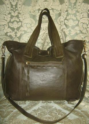 Шикарная сумка женская кожаная большая шоппер кроссбоди в идеале 100% кожа легкая