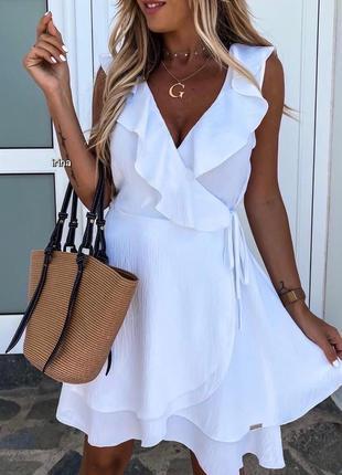 Белое платье сарафан с рюшем на запах / цвета / супер цена