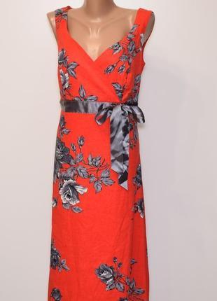 Платье миди в цветочный принт лен, вискоза, коттон