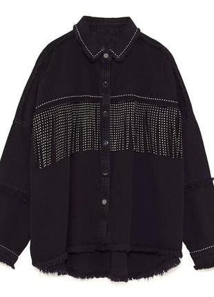 Новая джинсовая курточка с бахромой zara