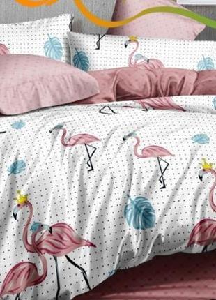 Постельное белье ранфорс фламинго