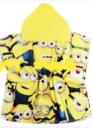 Яркое желтое полотенце пончо, с капюшоном миньены дисней